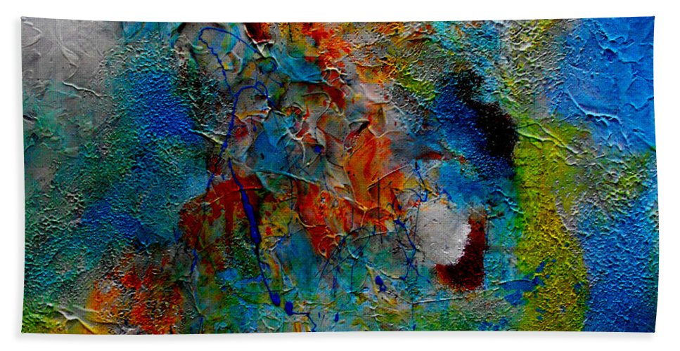ruth Palmer Abstract Christian Contemporary Color Faith Religion Bible God Jesus Spiritual Texture Hand Towel featuring the painting He Loves Us Inspite Of Ourselves by Ruth Palmer