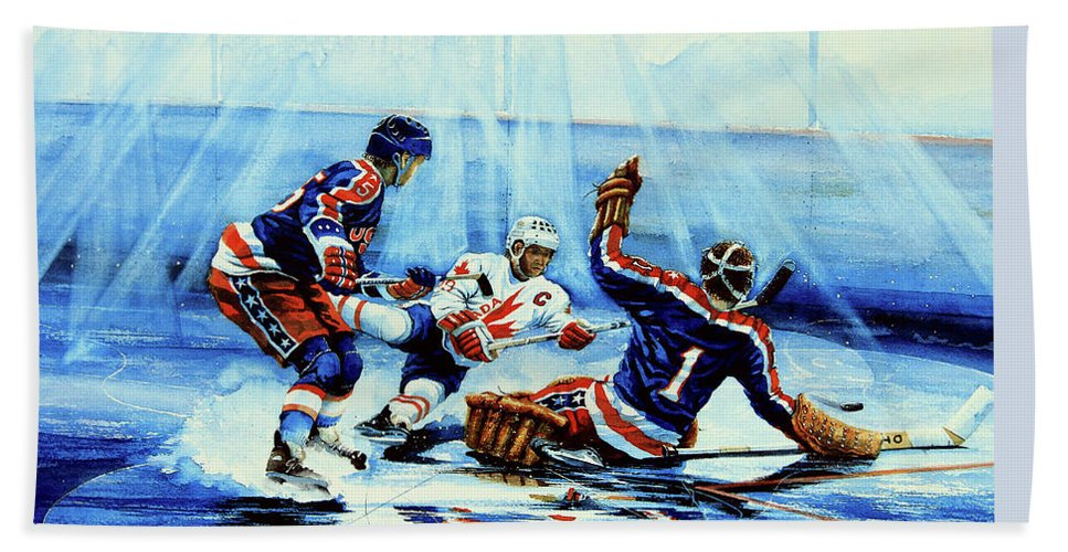 Hockey Bath Sheet featuring the painting He Shoots by Hanne Lore Koehler