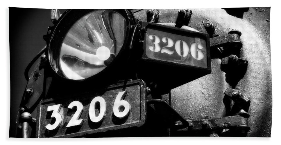 Locomotive Bath Sheet featuring the photograph Headlamp Of Steam Locomotive No. 3206 by Daniel Hagerman