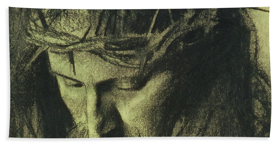 Head Of Christ Bath Sheet featuring the drawing Head Of Christ by Franz Von Stuck