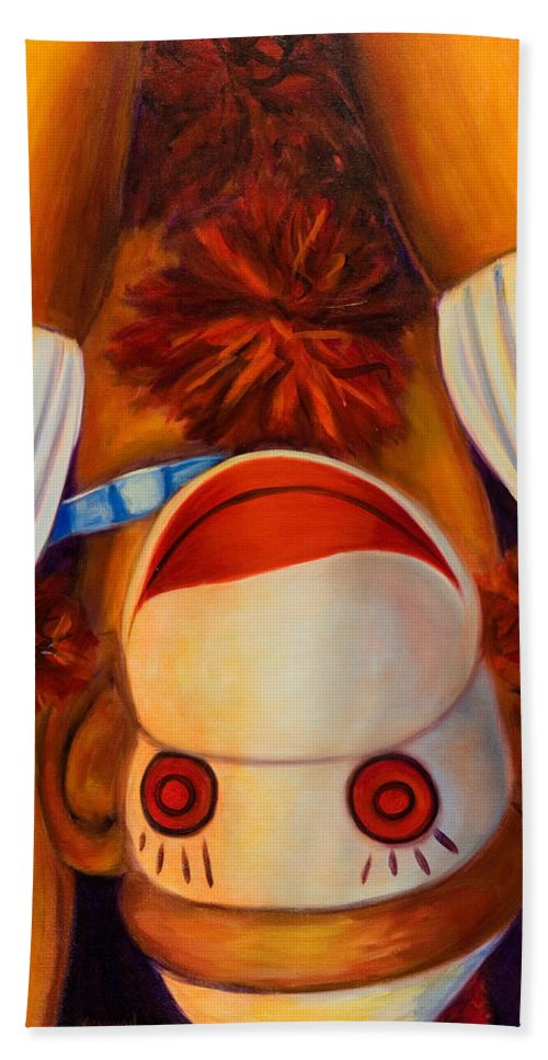 Children Hand Towel featuring the painting Head-over-heels by Shannon Grissom