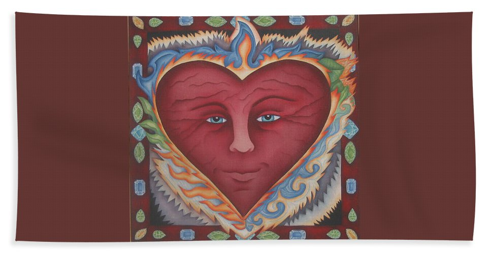 Heart Hand Towel featuring the painting Headheartandspirit.jpg by Jeniffer Stapher-Thomas