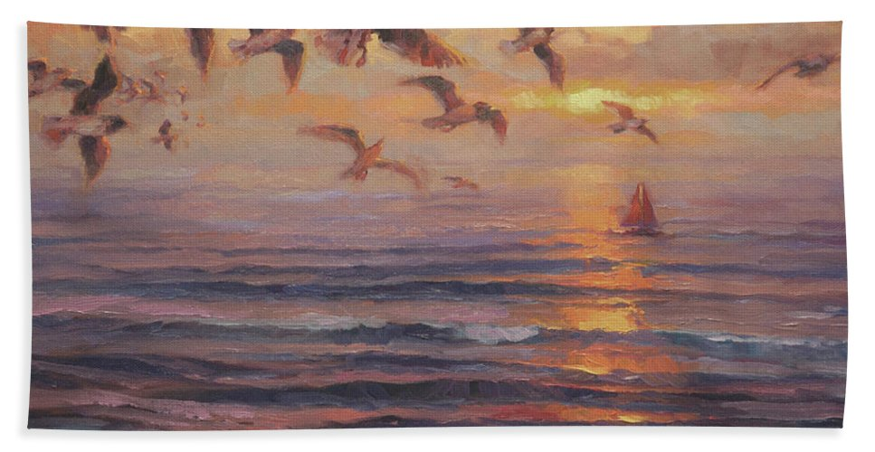 Coast Bath Towel featuring the painting Heading Home by Steve Henderson