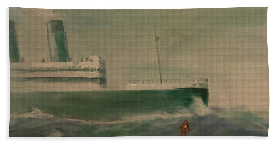 Ship Hand Towel featuring the painting Heading In by Christopher Jenkins