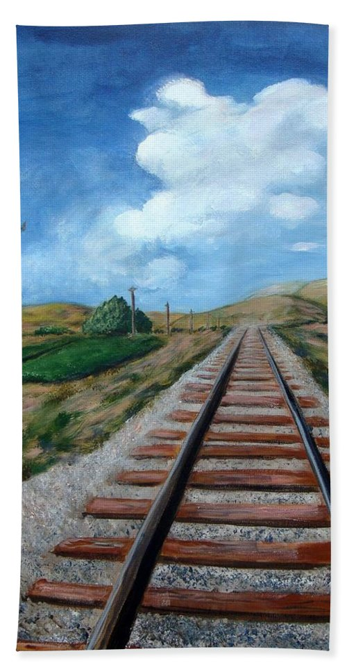 Railroad Tracks Bath Sheet featuring the painting Heading In The Right Direction by Laurie Morgan
