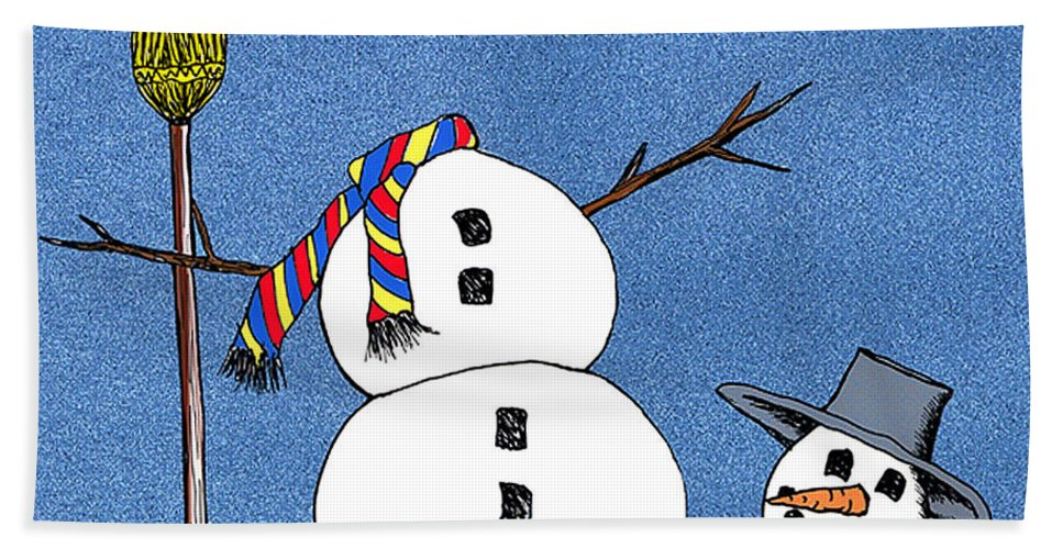 Snowman Bath Towel featuring the digital art Headless Snowman by Nancy Mueller