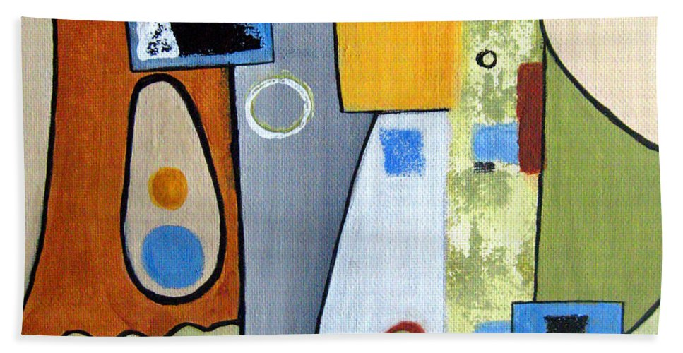 Abstract Bath Sheet featuring the painting Headspin II by Ruth Palmer