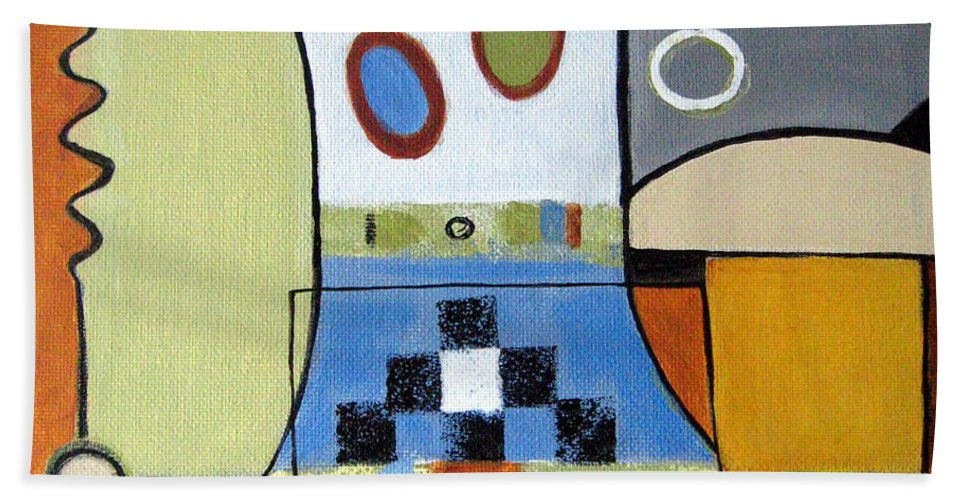 Abstract Hand Towel featuring the painting Headspin by Ruth Palmer
