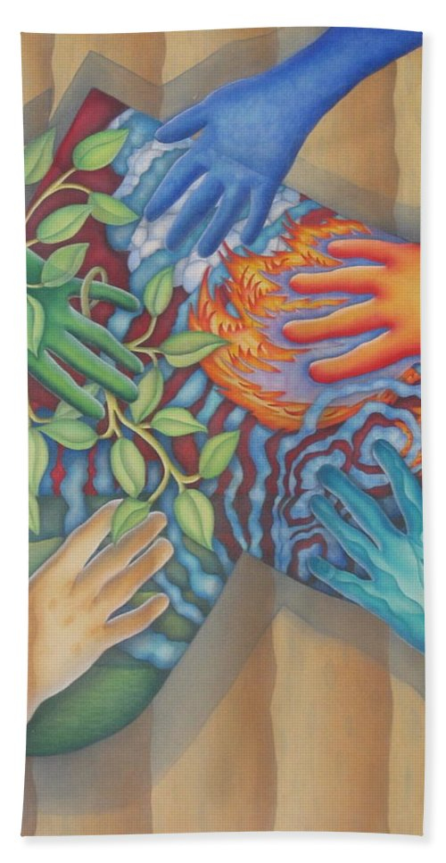 Nature. Love Hand Towel featuring the painting Healing Hands Of Love by Jeniffer Stapher-Thomas
