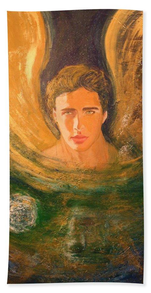 Alma Yamazaki Bath Sheet featuring the painting Healing With The Golden Light by Alma Yamazaki