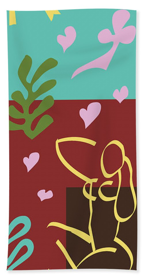 Henri Matisse Bath Sheet featuring the painting Health - Celebrate Life 3 by Xueling Zou