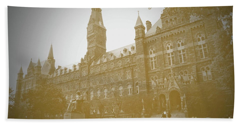 Georgetown Bath Sheet featuring the photograph Healy Hall Sepia by Jost Houk