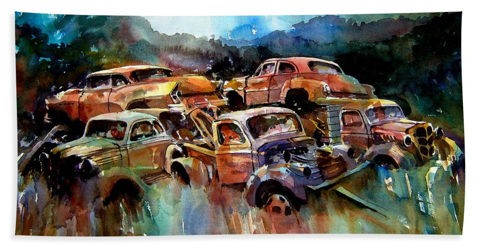 Cars Hand Towel featuring the painting Heaped Wrecks by Ron Morrison