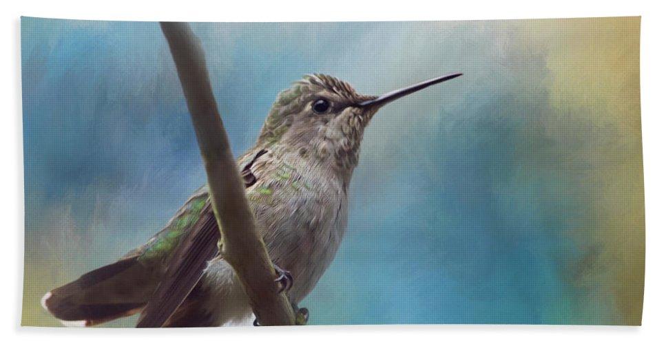 Hear Her Song Bath Towel featuring the painting Hear Her Song - Hummingbird Art by Jordan Blackstone