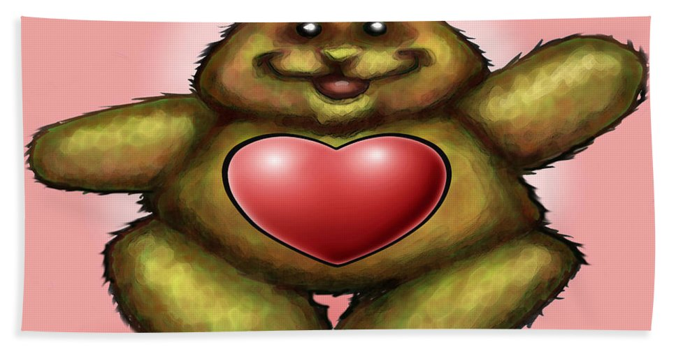Heart Bath Sheet featuring the greeting card Heart Bear by Kevin Middleton
