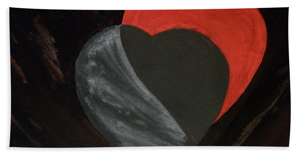 Red Bath Sheet featuring the painting Heart Blocker by Laurette Escobar