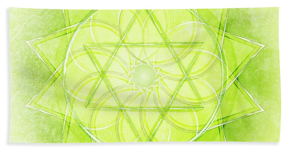 Green Bath Sheet featuring the digital art Heart Chakra Series Two by Experimenda