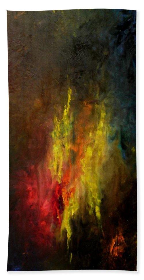 Art Bath Sheet featuring the painting Heart Of Art by Rushan Ruzaick