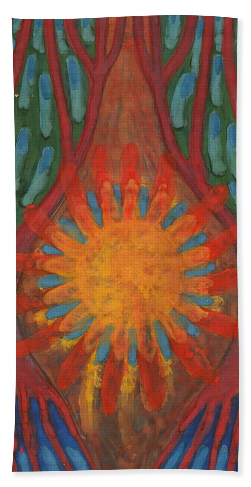 Colour Hand Towel featuring the painting Heart Of Forest by Wojtek Kowalski