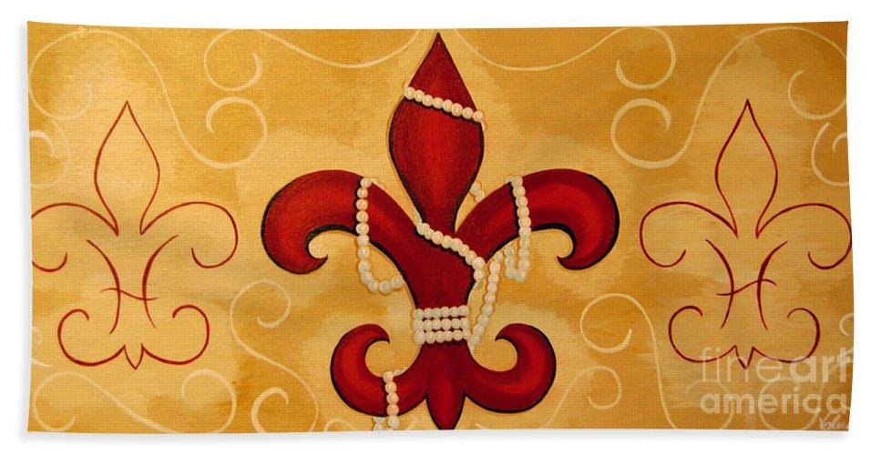 Fleur De Lis Bath Sheet featuring the painting Heart Of New Orleans by Valerie Carpenter