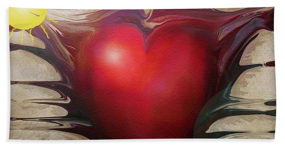 Abstracts Bath Towel featuring the digital art Heart Of The Sunrise by Linda Sannuti