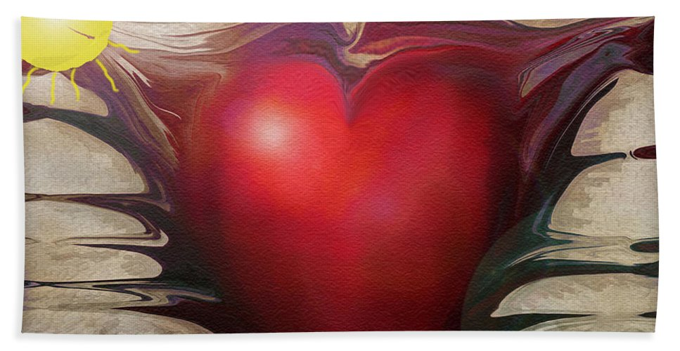 Abstracts Bath Sheet featuring the digital art Heart Of The Sunrise by Linda Sannuti