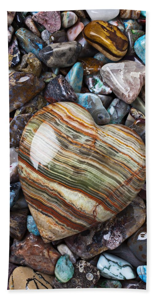 Stone Bath Sheet featuring the photograph Heart Stone by Garry Gay