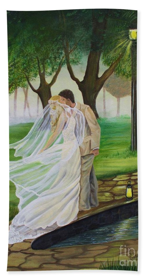 Bride And Groom Bath Sheet featuring the painting Heart To Heart by Kris Crollard