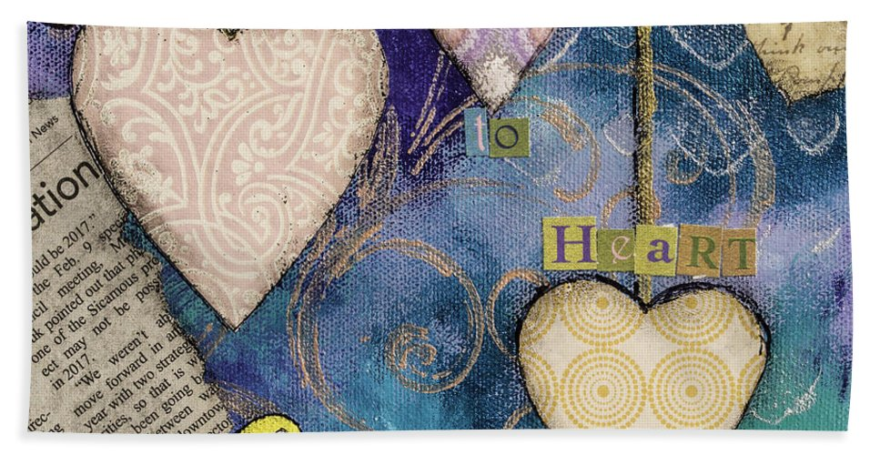 Hearts Hand Towel featuring the mixed media Heart To Heart by Wendy Provins