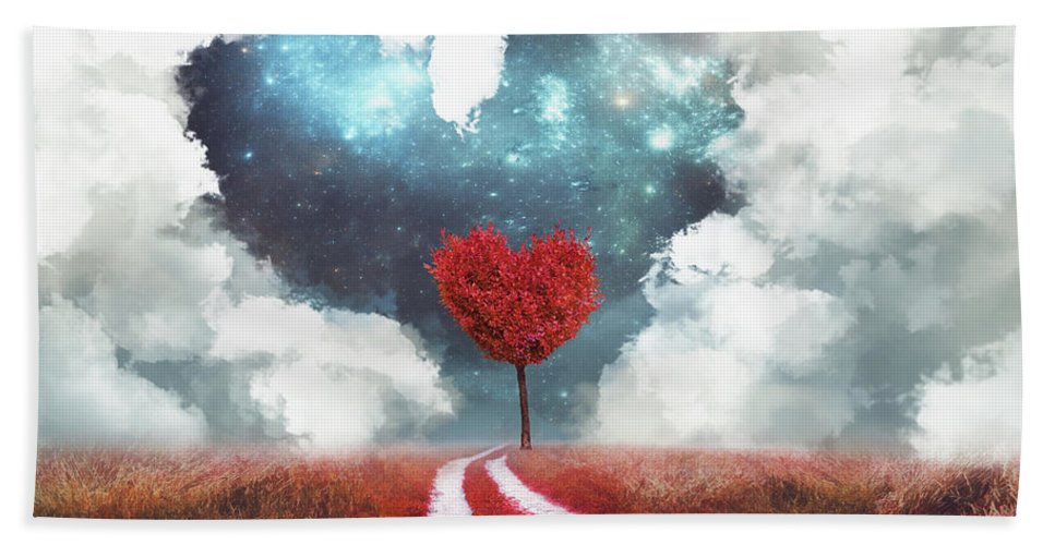 Heart Bath Towel featuring the digital art Heart Tree With Heart Cloud by Mihaela Pater