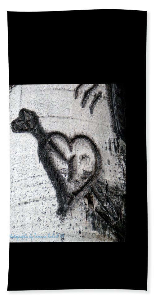 Photo Hand Towel featuring the photograph Heart Written In The Trees 3 by Tamara Kulish