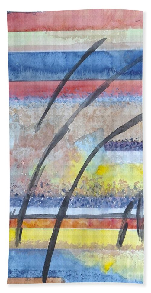 Abstract Hand Towel featuring the painting Heartbeat by Jacqueline Athmann