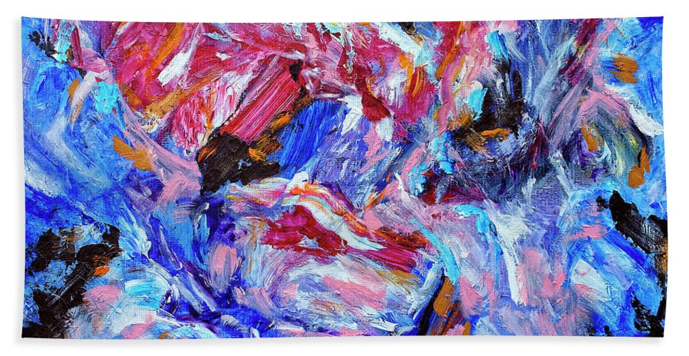 Abstract Hand Towel featuring the painting Heartbreaker by Dominic Piperata