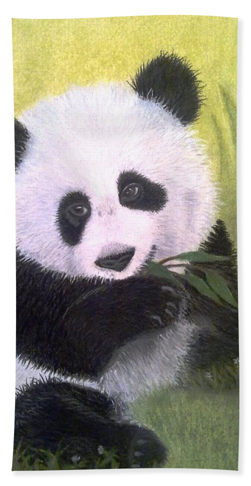 Giant Panda Hand Towel featuring the painting Heartbreaker by Rosanna Maria
