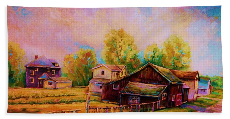 Landscape Bath Towel featuring the painting Hearth And Home by Carole Spandau