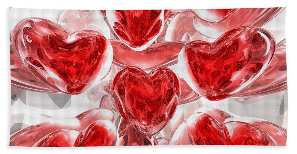 3d Bath Towel featuring the digital art Hearts Afire Abstract by Alexander Butler