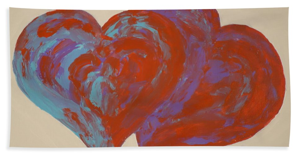 Heart Hand Towel featuring the painting Hearts A-flutter by Rauno Joks
