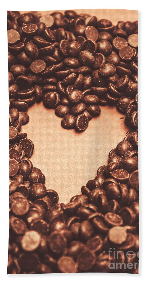 Chocolate Bath Towel featuring the photograph Hearts And Chocolate Drops. Valentines Background by Jorgo Photography - Wall Art Gallery