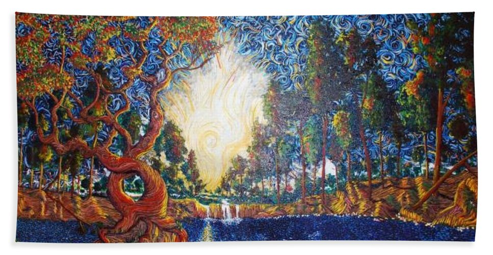 Tree Bath Sheet featuring the painting Hearts Heal by Stefan Duncan