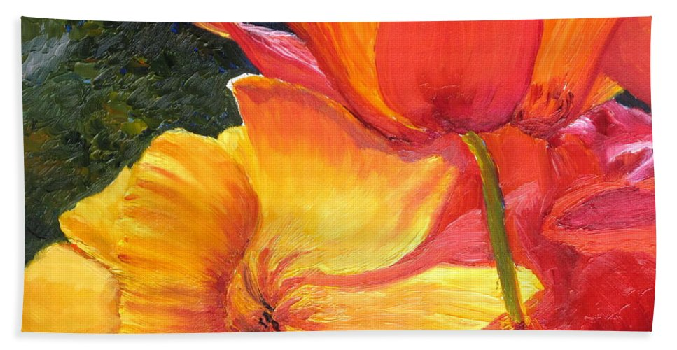 Flower Bath Sheet featuring the painting Hearts Of Poppies by Lea Novak