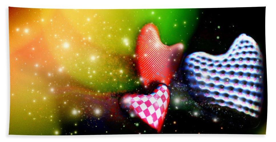 Hearts Bath Sheet featuring the digital art Hearts Racing by Adam Vance