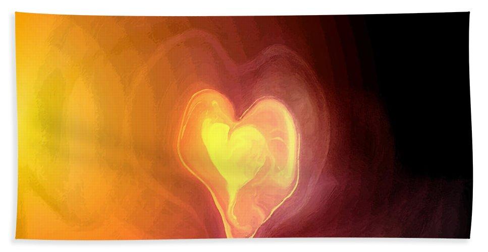 Heart Art Hand Towel featuring the digital art Heartwarming by Linda Sannuti