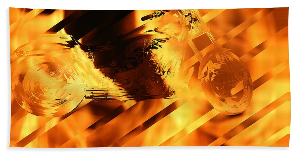 Harley Davidson Motorcycle Art Work Fire Flames Bike Art Hand Towel featuring the photograph Heated Harley by Andrea Lawrence