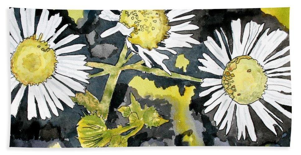 Wildflower Bath Towel featuring the painting Heath Aster Flower Art Print by Derek Mccrea
