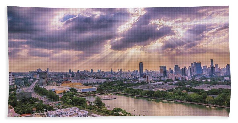 Bangkok Bath Sheet featuring the photograph Heaven And Earth by Jijo George