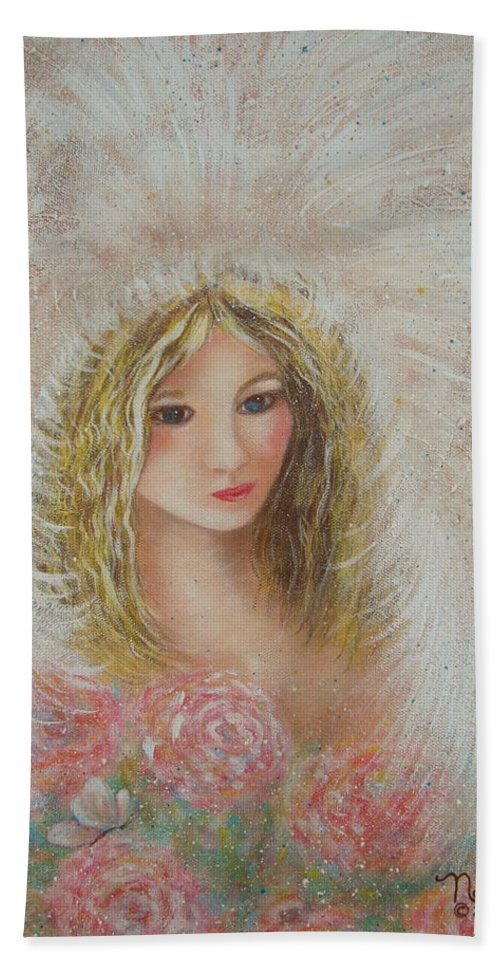 Angel Bath Sheet featuring the painting Heavenly Angel by Natalie Holland