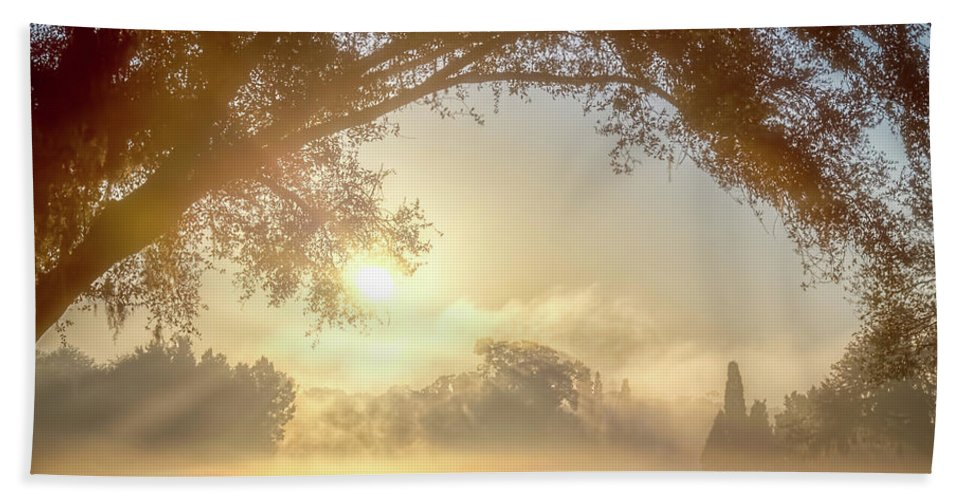 Sunrise Hand Towel featuring the photograph Heavenly Arch Sunrise by Ronald Kotinsky