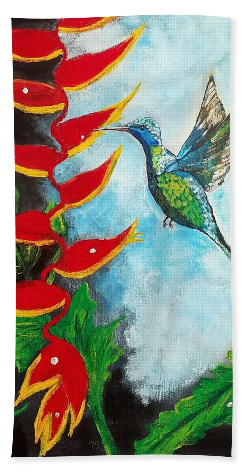 Heliconia Bath Sheet featuring the painting Heavenly Heliconia by Deepa Sahoo