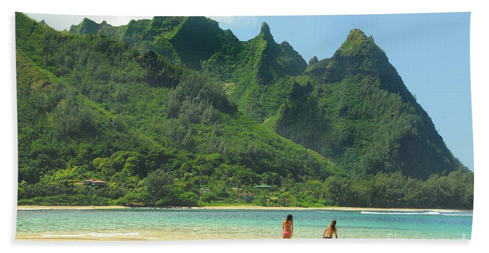 Haena Beach Bath Sheet featuring the photograph Heavenly Kauai Lagoon by Janine Claire