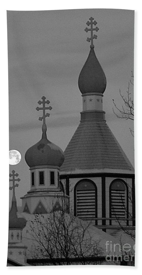 Church Bath Towel featuring the photograph Heavenly Moon by Rick Monyahan